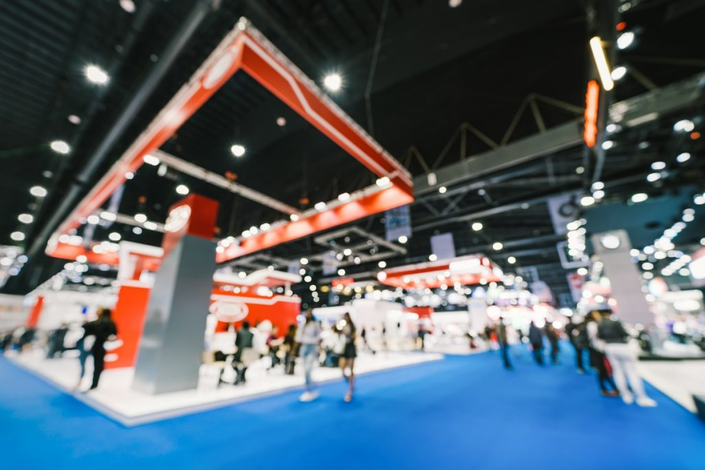 Blurred photo of a trade show
