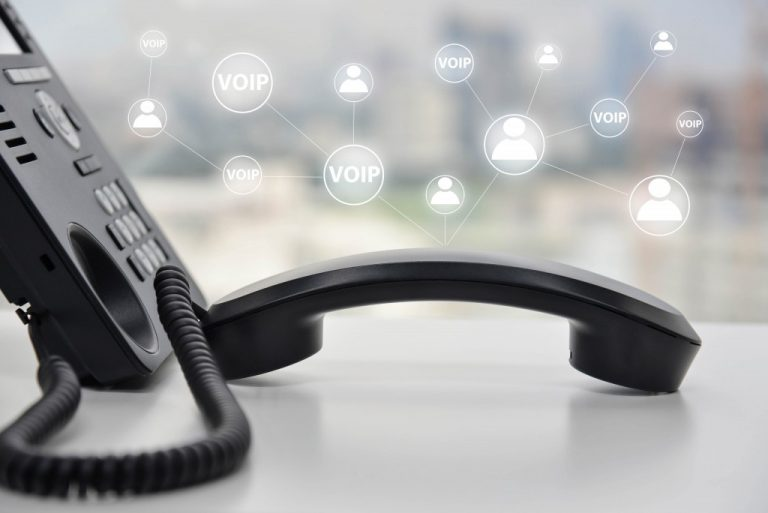 Telephone with VoIP icons