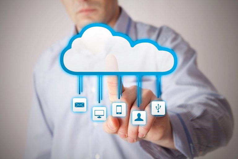 Man touching the cloud concept