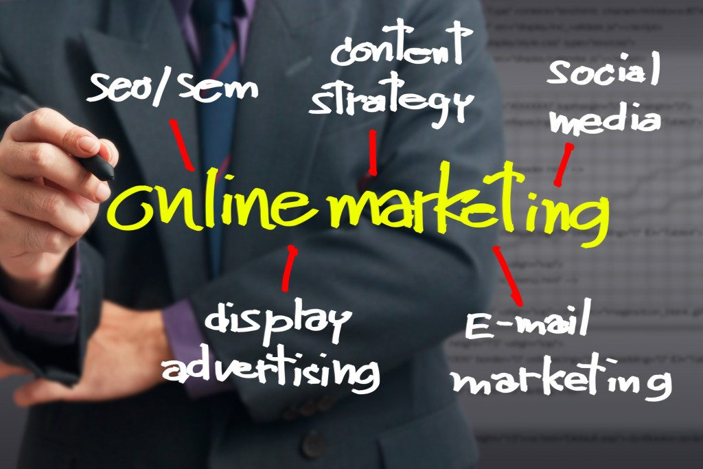 Businessman pointing at Online Marketing word for Online business concept
