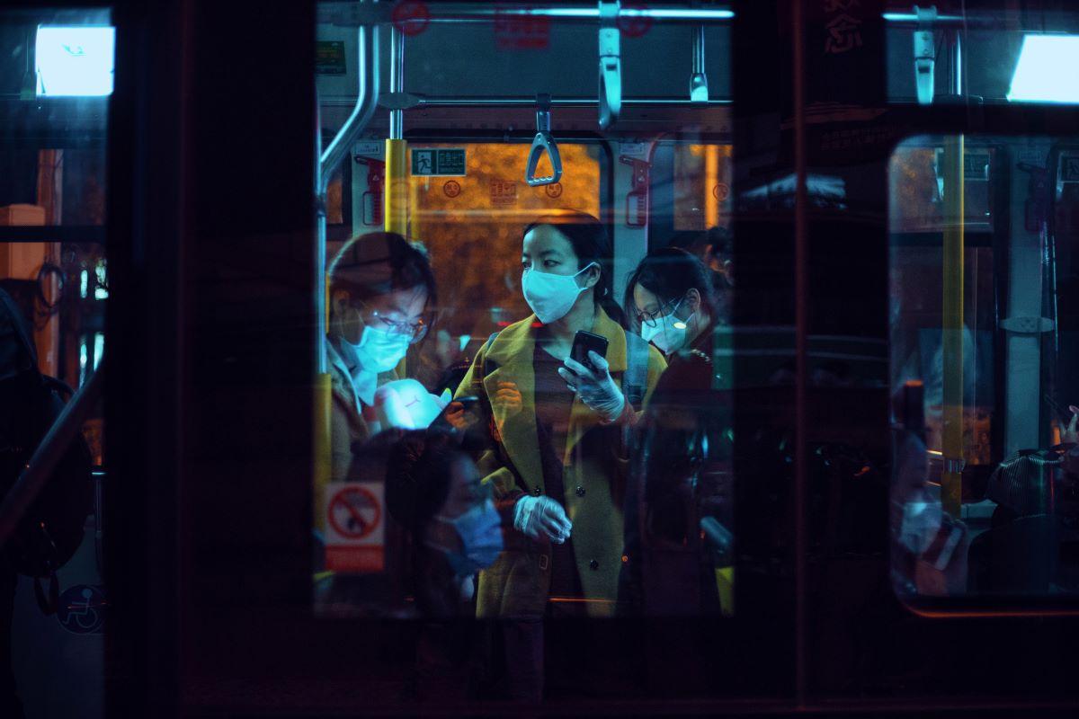 public transport people wearing facemasks