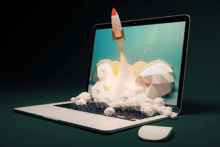 rocket taking off of laptop